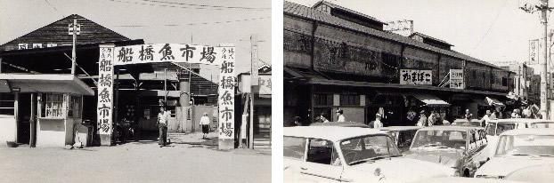 中央卸売市場が開設される前の市場 (昭和40年代初め頃、JR船橋駅周辺)